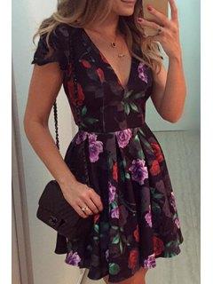 Plunging Neck Full Flower Print Dress - Black M