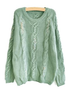 Long Sleeve Cable Knit Sweater - Gray