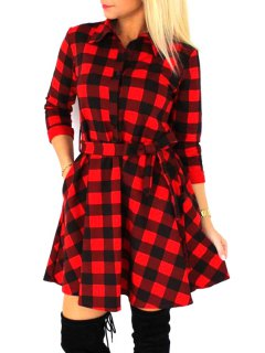 Checked Waisted Flat Neck 3/4 Sleeves Shirt Dress - Red Xl