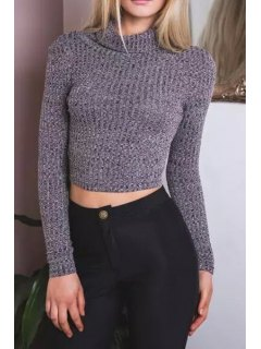 Cropped Turtle Neck Long Sleeves Sweater - Gray L