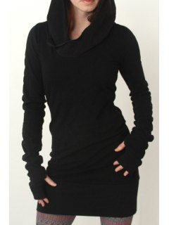 Black Hooded Long Sleeve Dress - Black L