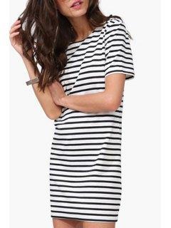 Striped Round Collar Short Sleeve T-Shirt Dress - White And Black M
