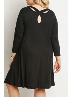 Solid Color Loose Fitting Round Collar Dress - Black 3xl