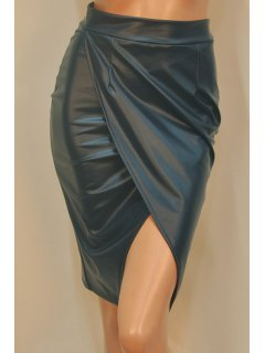 PU Leather High Waisted Bodycon Skirt - Blackish Green M