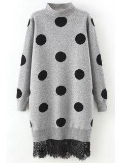 Polka Dot Lace Trim Sweater Dress - Gray