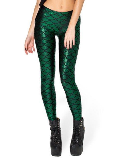 fancy Fish Scale Print Sexy Bodycon Leggings - BLACKISH GREEN XL Mobile