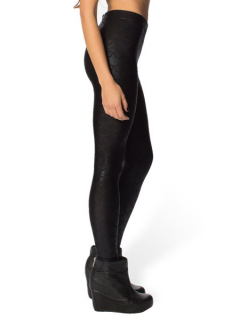 latest Fish Scale Print Sexy Bodycon Leggings - BLACK XL Mobile