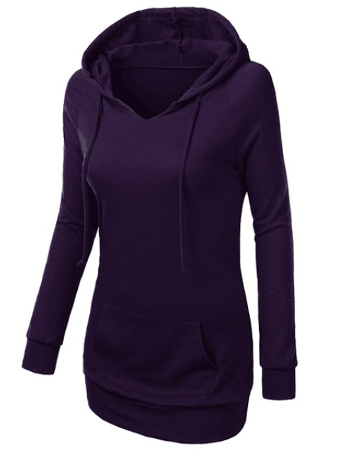 new Hooded Front Pocket Pullover Hoodie - PURPLE XL Mobile