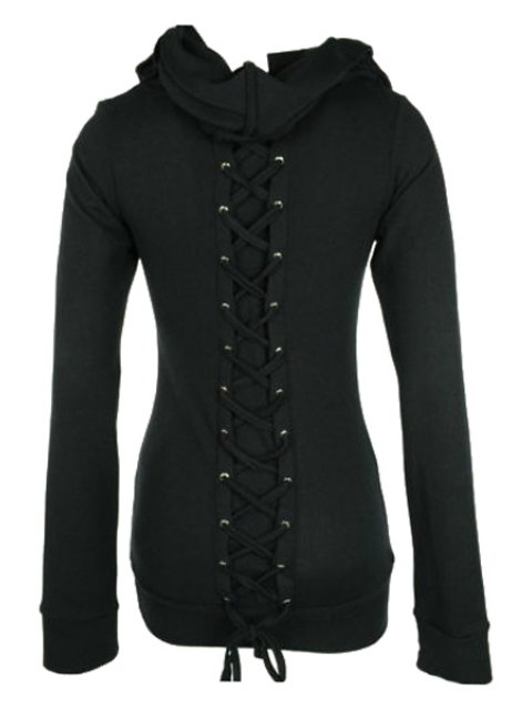 affordable Long Sleeve Lace-Up Black Hoohie - BLACK S Mobile