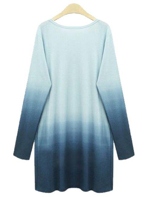 womens Ombre Color Plus Size Cardigan - BLUE 2XL Mobile