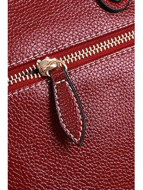 Cheongsam Forme Correspondance couleur gaufrage sac fourre-tout - Rouge vineux   Mobile