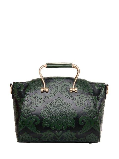 hot Floral Embossing Metal Tote Bag - GREEN  Mobile