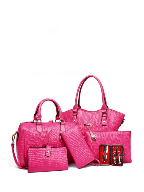 fashion Stone Pattern Solid Color Tote Bag - ROSE  Mobile