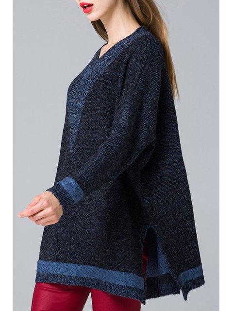 shop Side Slit V Neck Long Sleeve Jumper - PURPLISH BLUE ONE SIZE(FIT SIZE XS TO M) Mobile