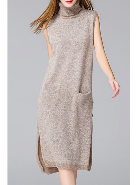 ladies Side Slit Solid Color Pockets Sweater Dress - APRICOT ONE SIZE(FIT SIZE XS TO M) Mobile