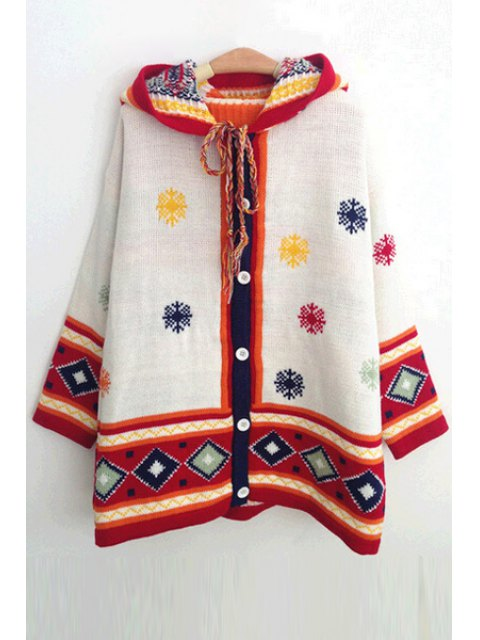 womens Hooded Snowflake Jacquard Cardigan - WHITE ONE SIZE(FIT SIZE XS TO M) Mobile