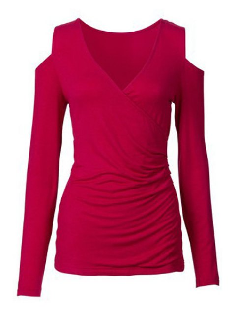 fashion Long Sleeve Cut Out Ruched T-Shirt - RED XL Mobile