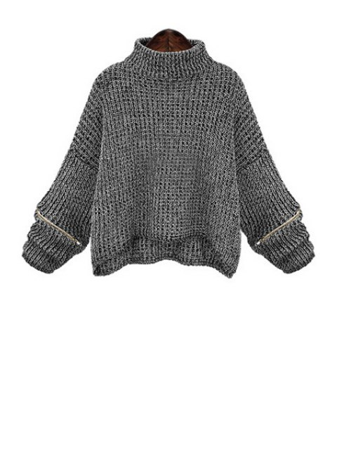 ladies Turtle Neck Zippered Oversized Sweater - DEEP GRAY XL Mobile