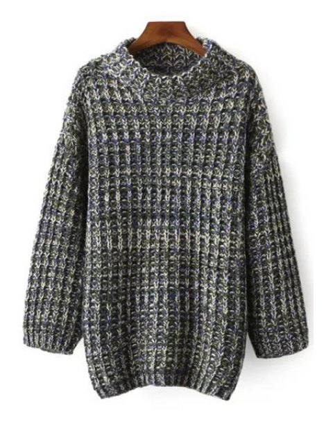 shops Multi Color Stand Neck Long Sleeve Jumper - BLUE ONE SIZE(FIT SIZE XS TO M) Mobile