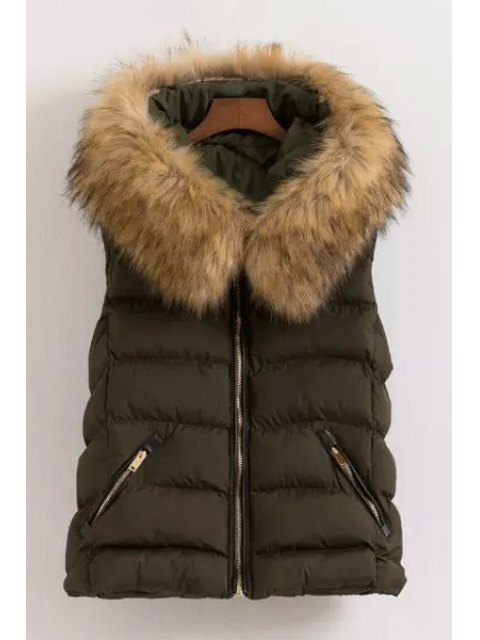 trendy Fur Collar Hooded Waistcoat - GREEN L Mobile