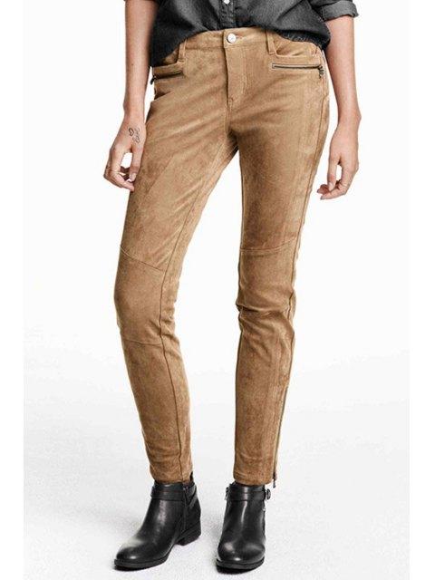 online Solid Color Suede Narrow Feet Pants - KHAKI 2XL Mobile
