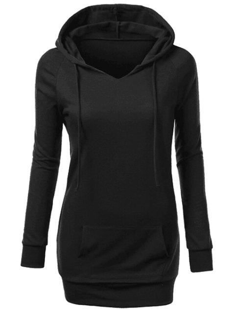 buy Hooded Front Pocket Pullover Hoodie - BLACK L Mobile