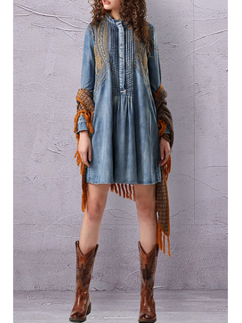 affordable Stand Neck Embroidered Pleated Denim Dress - LIGHT BLUE M Mobile