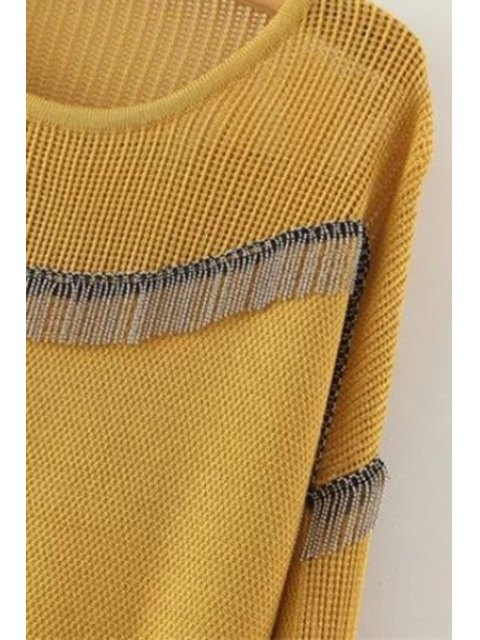 trendy Chain Embellished Round Neck Long Sleeves Sweater - YELLOW ONE SIZE(FIT SIZE XS TO M) Mobile