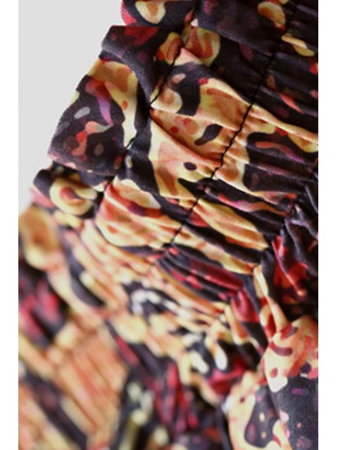 chic Vintage Print Elastic Waist Skirt - BROWN L Mobile