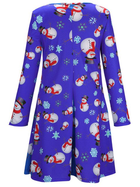 outfits Santa Claus Snowflake Print Long Sleeves T-Shirt Dress - BLUE M Mobile
