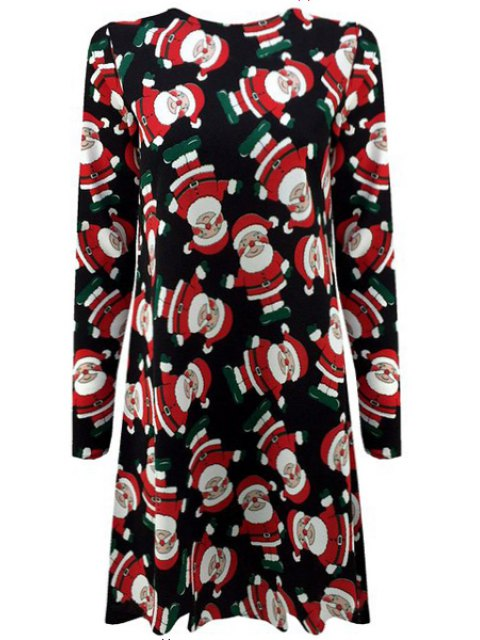 chic Father Christmas Print Long Sleeve Dress - BLUE M Mobile