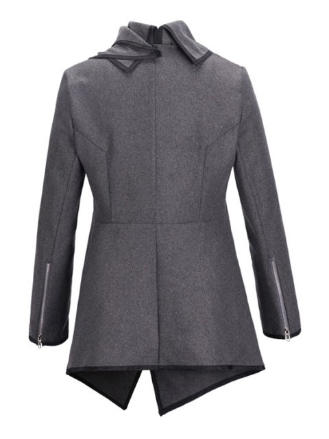 new Large Lapel Button Design Piped Trench Coat - GRAY M Mobile
