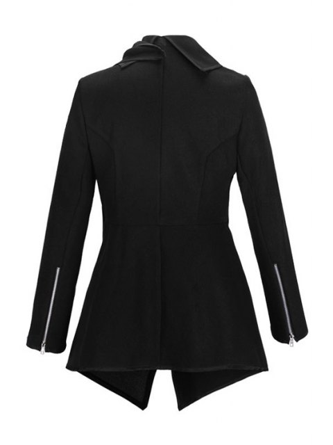 fancy Large Lapel Button Design Piped Trench Coat - BLACK L Mobile