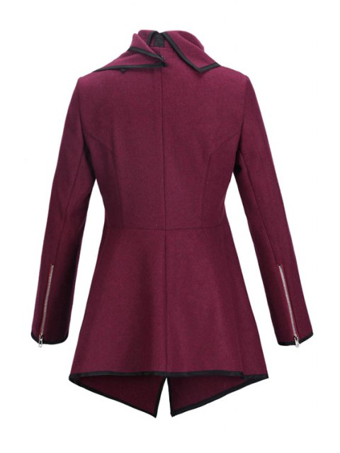 women Large Lapel Button Design Piped Trench Coat - WINE RED M Mobile