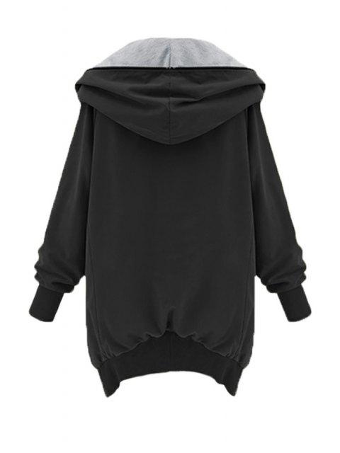 affordable Zip Up Loose Fit Hoodie - BLACK XL Mobile