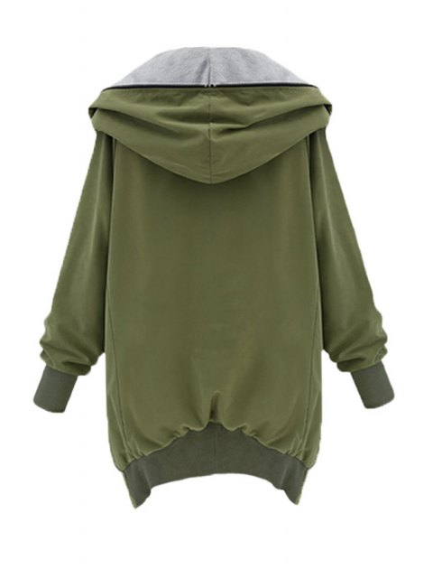online Zip Up Loose Fit Hoodie - ARMY GREEN M Mobile