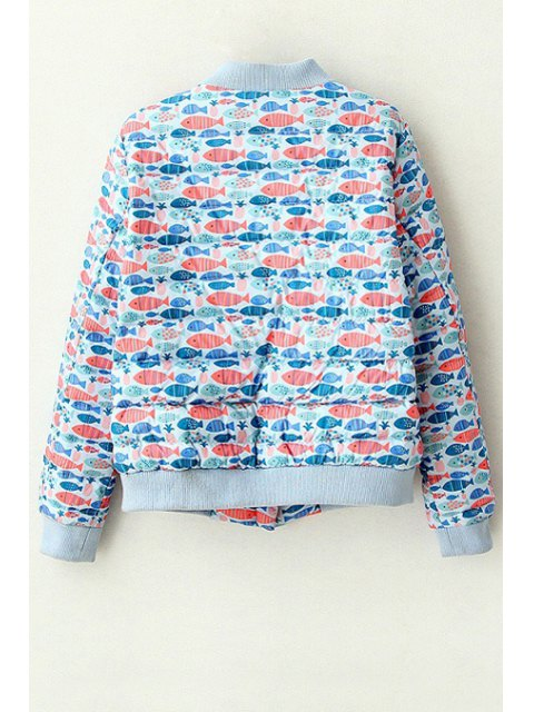 womens Full Fish Print Stand Neck Long Sleeve Jacket - BLUE M Mobile