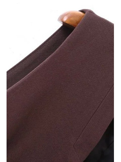 new Solid Color Pockets Long Waistcoat - WINE RED S Mobile