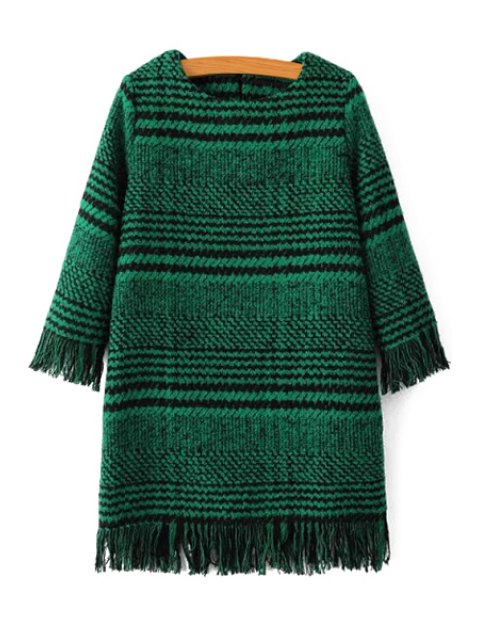 latest Houndstooth Jewel Neck 3/4 Sleeve Dress - GREEN M Mobile