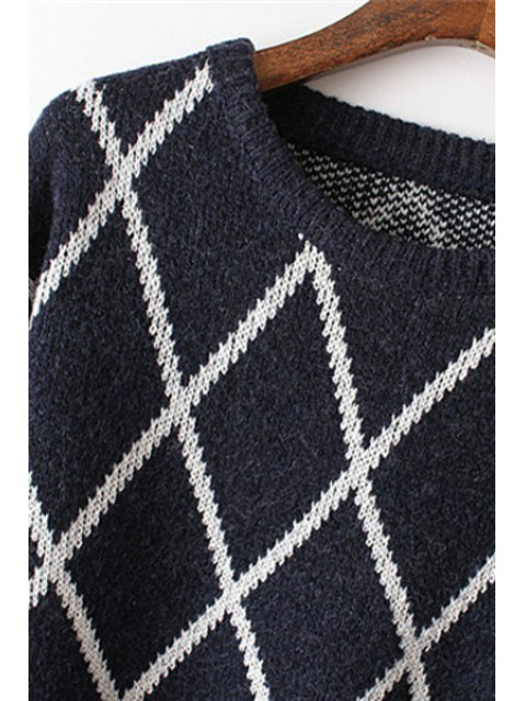 buy Argyle Pattern Round Neck Long Sleeves Sweater - OFF-WHITE ONE SIZE(FIT SIZE XS TO M) Mobile