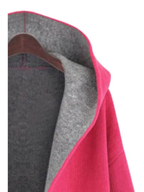 fashion Hooded Long Sleeve Two Pockets Coat - RED 3XL Mobile