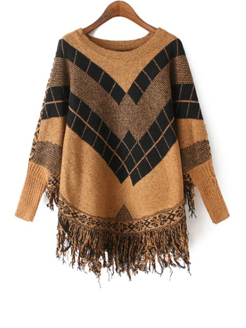 ladies Geometric Pattern Fringes Cape Round Collar Sweater - KHAKI ONE SIZE(FIT SIZE XS TO M) Mobile