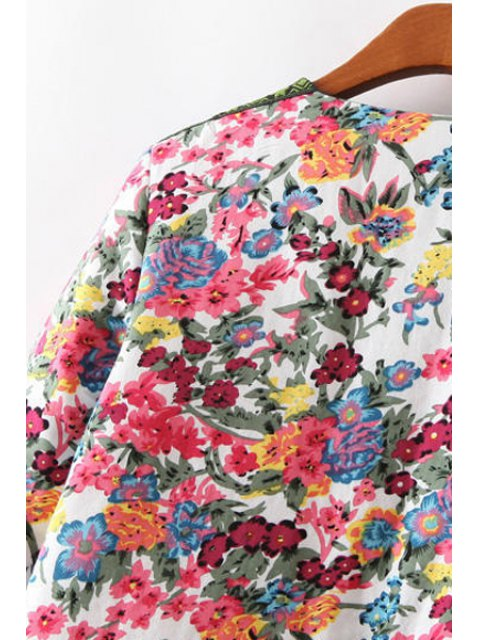 trendy Flower Print Embroidery Jacquard Long Sleeves Jacket - COLORMIX L Mobile