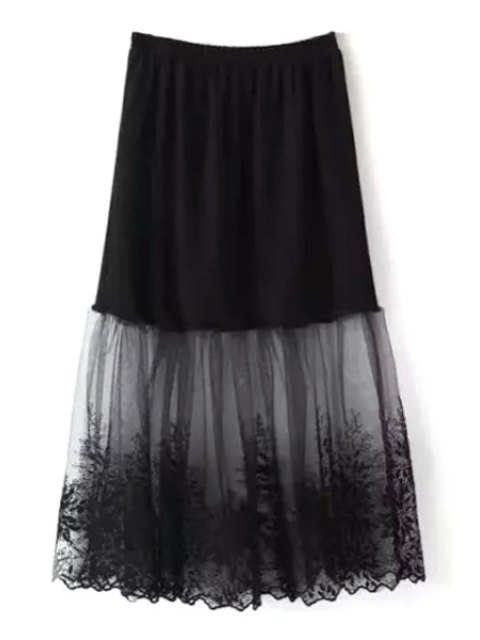 outfits Lace Mesh Spliced A Line Skirt - BLACK ONE SIZE(FIT SIZE XS TO M) Mobile