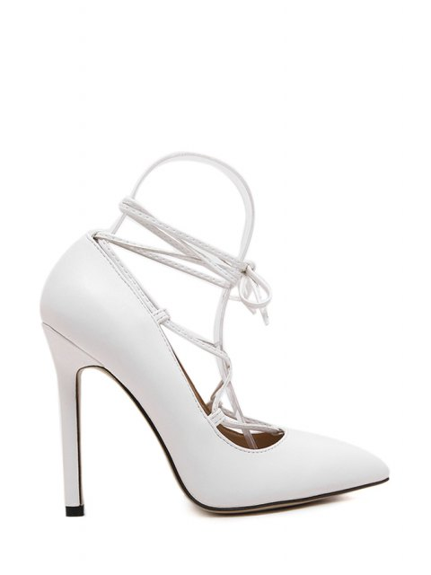 affordable Solid Color Criss-Cross Pointed Toe Pumps - WHITE 39 Mobile