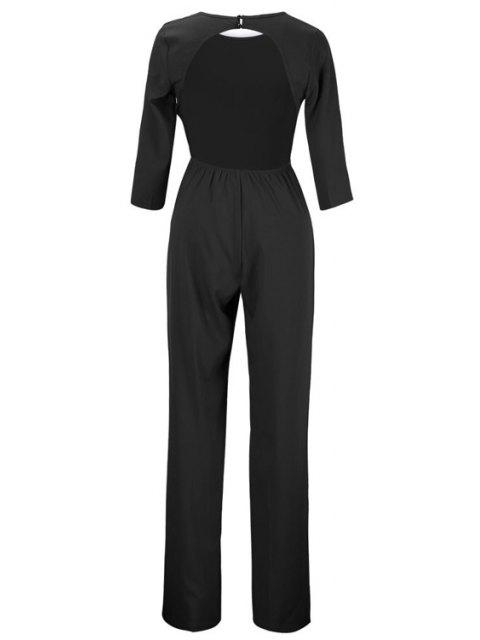unique Backless Solid Color Round Collar Jumpsuit - BLACK XL Mobile
