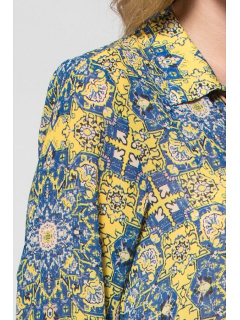 lady Yellow Print Plunging Neck Long Sleeve Maxi Dress - YELLOW S Mobile
