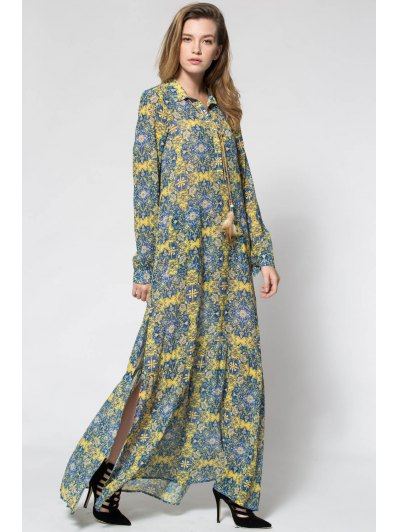 Yellow Print Plunging Neck Long Sleeve Maxi Dress - Yellow