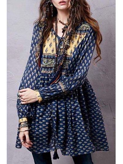 Long Sleeve Tiny Floral Tunic Dress - Azul