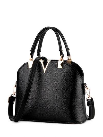 V-Shape Metal Embossing Tote Bag - Black